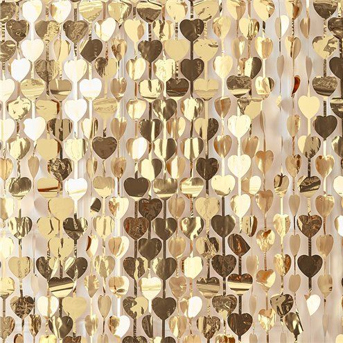 Backdrop: Gold Wedding Heart Foil Curtain Backdrop - 2.5m