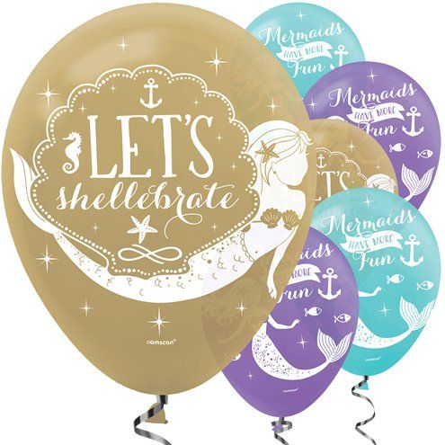 "Balloon: 12"" Mermaid Wishes Balloons x6pk"