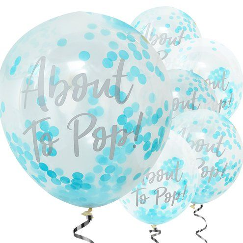 "Balloon: 12"" 'Oh Baby 'About To Pop' Blue Confetti Balloons"