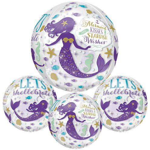 "Balloon: 16"" Mermaid Wishes Orb balloon Foil - sold deflated"