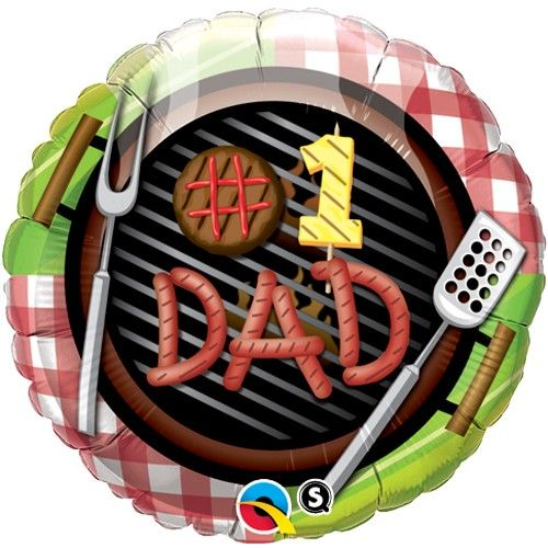 Balloon:  18'' #1 Dad Grill  Foil Balloon Sold deflated