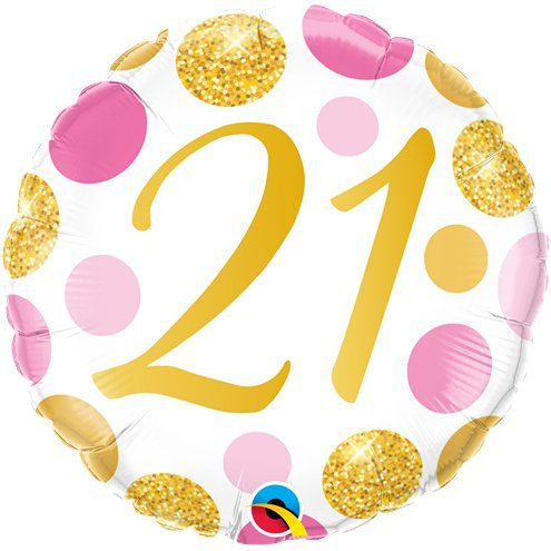 "Balloon: 18"" 21st Birthday Pink & Gold Dots Balloon - sold deflated"