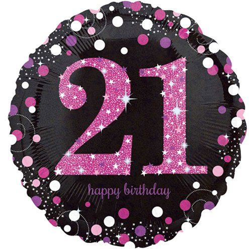 "Balloon: 18"" Happy 21st Birthday Pink Sparkling Celebration Balloon Supplied deflated"
