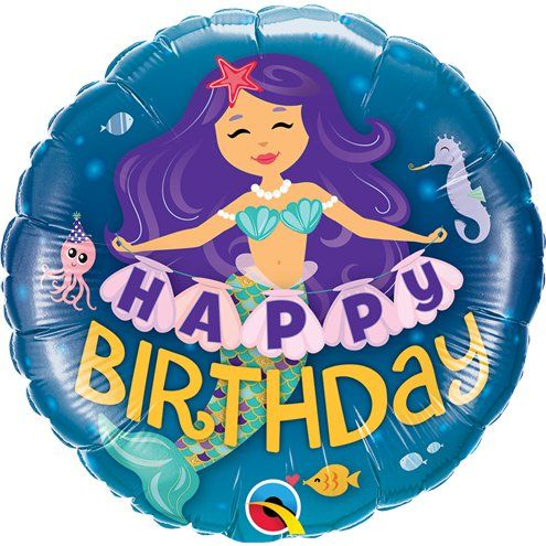 "Balloon: 18"" 'Happy Birthday' Mermaid Balloon - Sold Deflated"