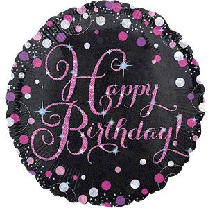 "Balloon: 18"" Happy Birthday Pink Sparkling Celebration Foil Balloon Sold deflated"