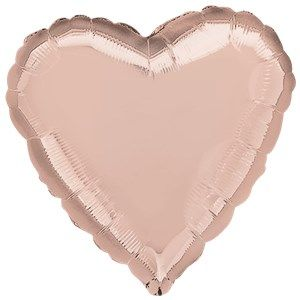 "Balloon: 18""  Rose Gold Heart Foil Balloon - Sold Deflated"