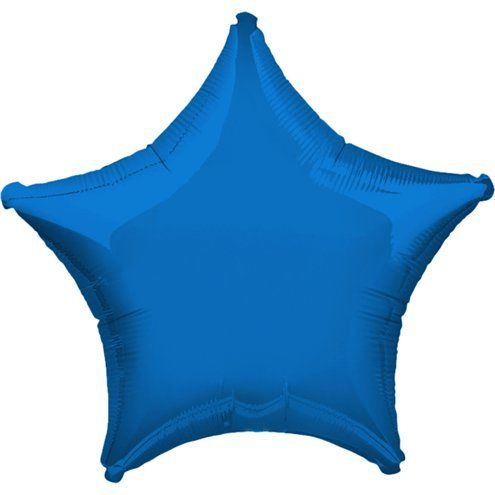 "Balloon: 19"" Blue Star Foil Balloons  - Sold Deflated"