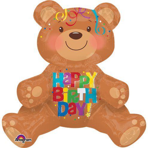 Balloon: 19' Happy Birthday Sitting Bear Balloon - Sold Deflated