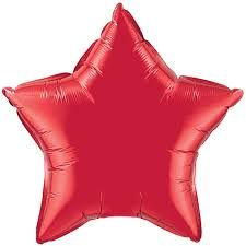 "Balloon: 19"" Red Star (Packaged) (Each) - Sold Deflated"