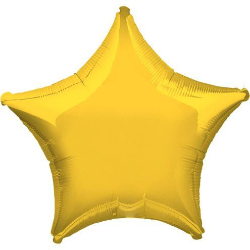 "Balloon: 19"" Yellow Star Foil Balloons (each) Sold deflated"