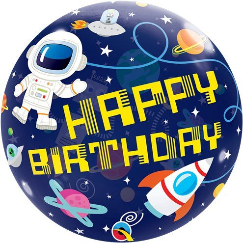 "Balloon: 22"" Outer Space ""Happy Birthday"" Bubble Balloon - Sold deflated"
