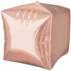"Balloon: 24"" Cubez Rose Gold Cube Shaped Foil Balloon - Sold deflated"