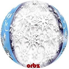 Balloon: 25'' Orbz™ Frozen Snowflakes Orbz Balloon - each Sold deflated