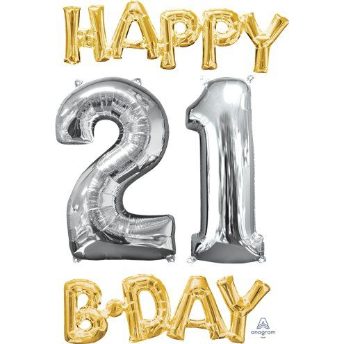 "Balloon: 26"" 'Happy 21st Birthday' Gold & Silver Foil Balloons - sold deflated"