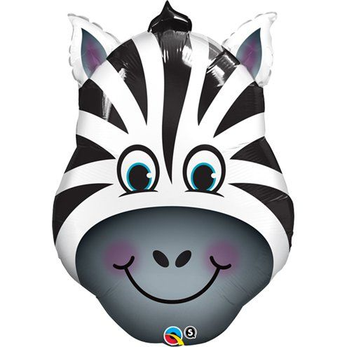 Balloon:  32'' Zany Zebra Foil Balloon (each) Sold deflated