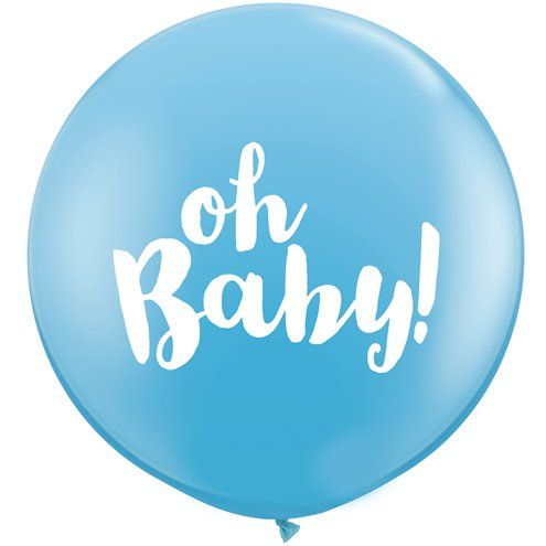 "Balloon: - 36"" Gender Reveal Oh Baby 3ft Latex Balloon Blue 2pk - Sold deflated"