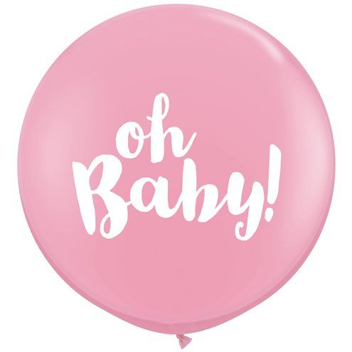"Balloon: - 36"" Gender Reveal Oh Baby 3ft Latex Balloon Pink 2pk - Sold deflated"