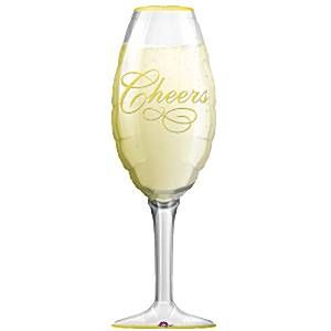Balloon: 38'' Champagne Glass Supershape Foil Balloon  sold deflated