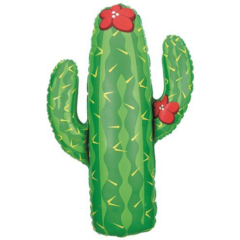 "Balloon: 41"" Cactus Supersize Foil Balloon - Sold deflated"
