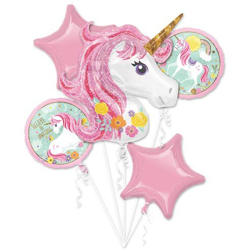 Balloon Bouquet: Magical Unicorn Balloon Bouquet - Assorted Foil - Sold deflated