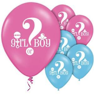 "Balloon: Gender Reveal Pink & Blue Balloons - 12"" Latex x8pk"