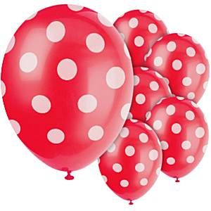 "Balloons: 12"" Decorative Dots Red Latex Balloons x6pk"