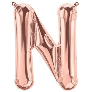 "Balloons:  16"" Rose Gold Letter N Foil Balloon (Air Filled)"