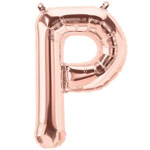 "Balloons:  16"" Rose Gold Letter P Foil Balloon (Air Filled)"