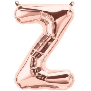 "Balloons:  16"" Rose Gold Letter Z Foil Balloon (Air Filled)"