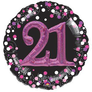"Balloons: 32"" 21st Birthday Pink Sparkling Celebration 3D Multi- Balloon  Sold deflated"