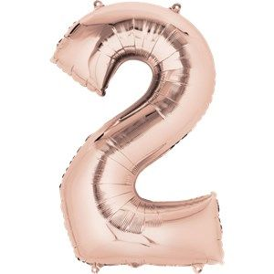 "Balloons:  34 "" Rose Gold Number 2 Foil Balloon (Inflated price £8.99)"