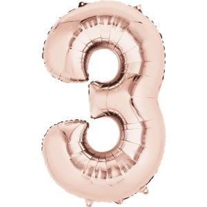 "Balloons:  34 "" Rose Gold Number 3 Foil Balloon (Inflated price £8.99)"