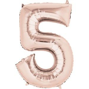 "Balloons:  34 "" Rose Gold Number 5 Foil Balloon (Inflated price £8.99)"