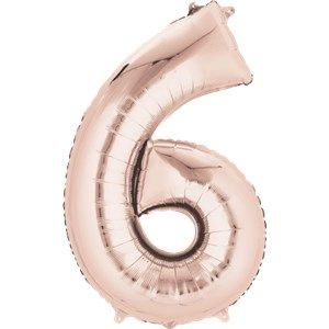 "Balloons:  34 "" Rose Gold Number 6 Foil Balloon - Sold deflated"