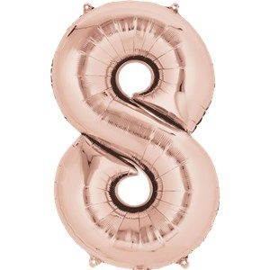 "Balloons:  34 "" Rose Gold Number 8 Foil Balloon Sold Deflated"