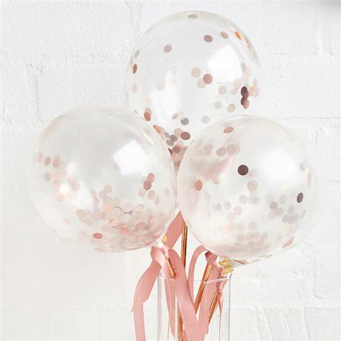 "Balloons: 5"" Rose Gold Mini Confetti Balloon Wands Latex"