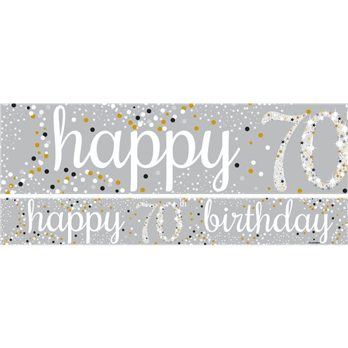 Banner: 70th Birthday Paper Banners 1 design 1m each x3pk