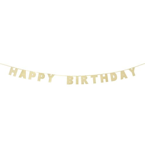 Banner: 'Happy Birthday' Luxe Gold Letter Banner - 3m