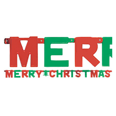 Banner: Merry Christmas Letter Banner - 1.5m Christmas Decoration (each)