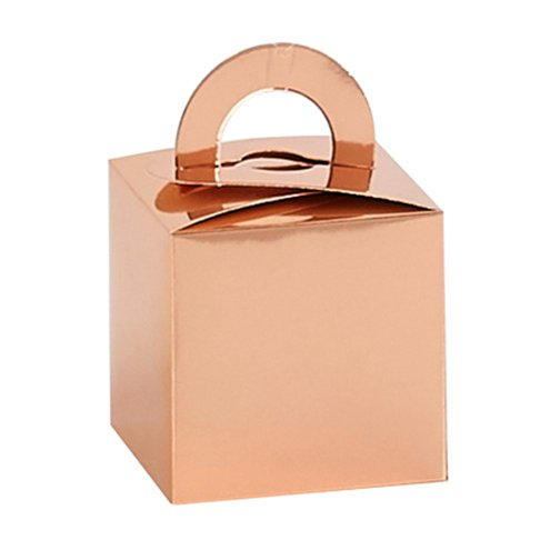 Box/Weight: Rose Gold Cube Balloon Weight / Favour Boxes x10pk