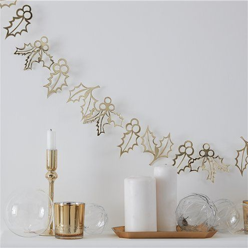 Bunting: Gold Glitter Holly Garland - 2m