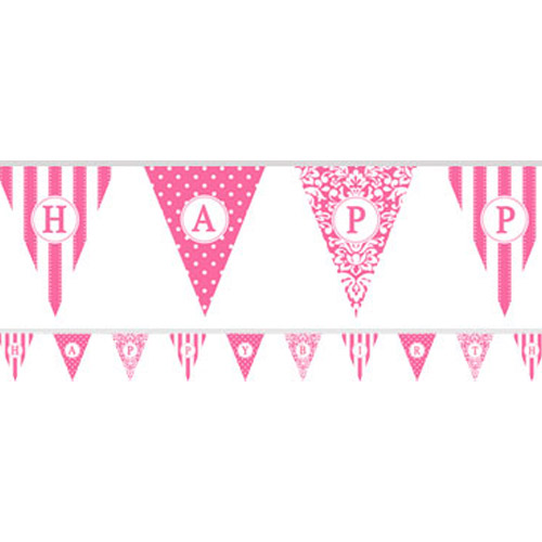 Bunting: Personalise It Paper Pennant Banner - Hot Pink