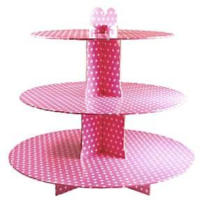 Cake Stand: 3 tier Pink/White Spot Card Stand (each)