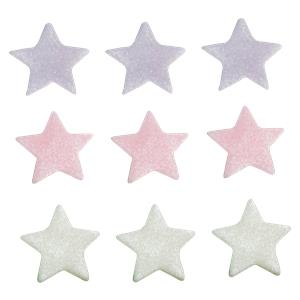 Cake Toppers: Lilac, Pink & White Star Sugar Toppers (9pk)