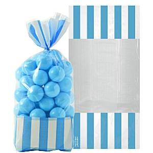 Candy Buffet: Striped Treat Cello Bags - Caribbean Blue  x10pk