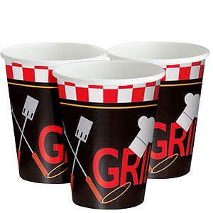 Cups: Backyard BBQ 255ml Paper Party Cups (8pk)