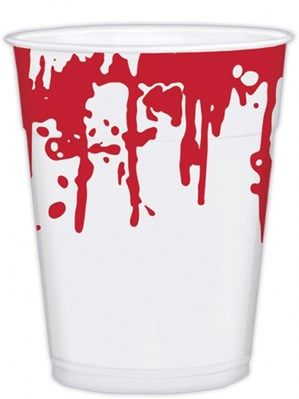 Cups: Halloween Blood Splattered Plastic Cups x25pk