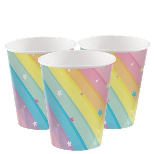 Cups: Magical Rainbow Paper Party Cups - 256ml x8pk
