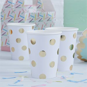 Cups: Pick & Mix White Metallic Polka Dot Cups - 255ml Paper Party Cups x8pk