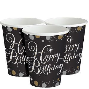 Cups: Sparkling Celebration Happy Birthday Party 266ml Paper Party Cups (8pk)